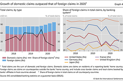 Growth of domestic claims outpaced that of foreign claims in 2020