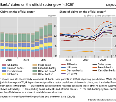 Banks' claims on the official sector grew in 2020